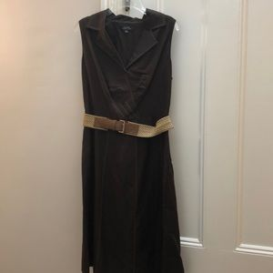 Tahari fully lined brown dress with woven belt